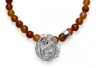 Carnelian Necklace with Center Knot