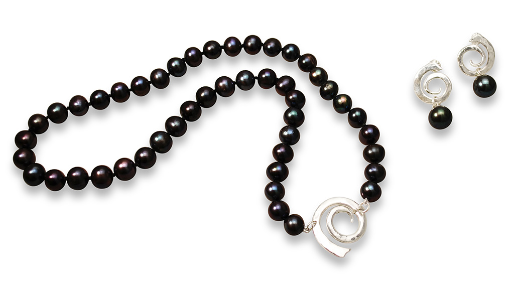 Spiral Black Pearl Necklace & Earrings