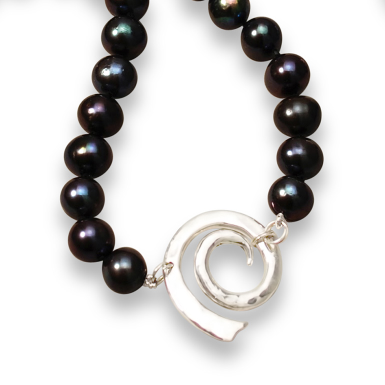 Spiral Black Pearl Necklace and Earrings