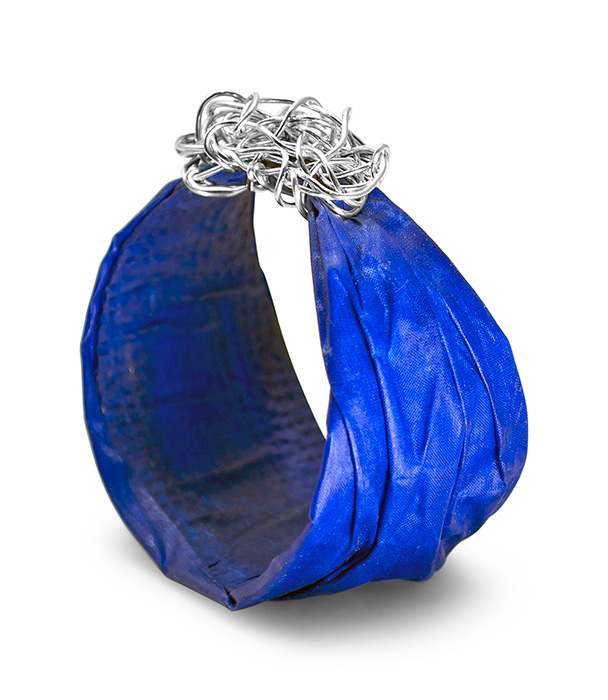 Blue Silk Bangle with a Topknot