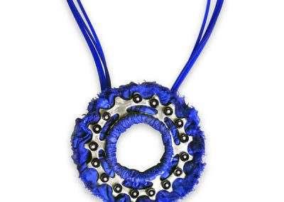 Blue Necklace with a Sprocket